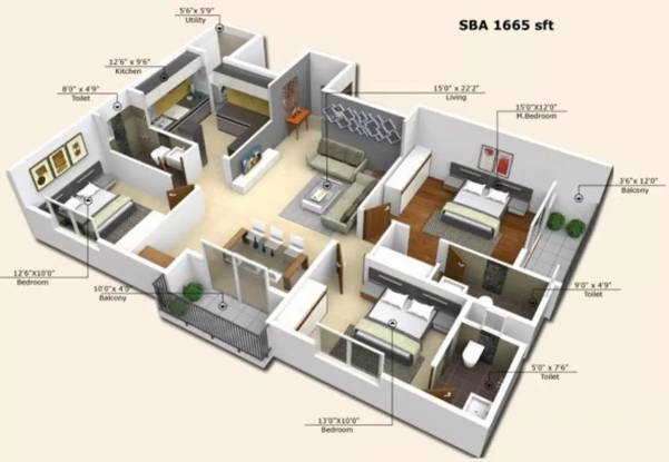 1665 sqft, 3 bhk Apartment in  LVR Residency Koramangala, Bangalore at Rs. 1.2987 Cr