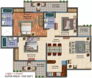 1530 sqft, 3 bhk Apartment in Saviour Green Arch Techzone 4, Greater Noida at Rs. 50.0000 Lacs