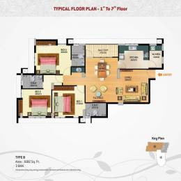 1704 sqft, 3 bhk Apartment in Builder SUN ELITE VIKHASBHAVAN Vikas Lane, Trivandrum at Rs. 92.0160 Lacs