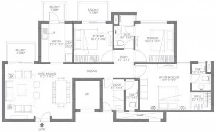 1395 sqft, 3 bhk Apartment in Emaar Emerald Estate Sector 65, Gurgaon at Rs. 1.2000 Cr