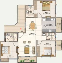 1535 sqft, 3 bhk Apartment in Aswan The Courtyard Square Frazer Town, Bangalore at Rs. 1.3158 Cr