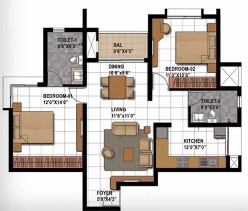 1160 sqft, 2 bhk Apartment in Prestige Bagamane Temple Bells Rajarajeshwari Nagar, Bangalore at Rs. 66.0000 Lacs