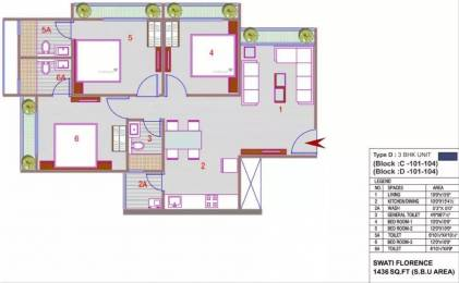 1436 sqft, 3 bhk Apartment in Swati Florence Bopal, Ahmedabad at Rs. 50.0000 Lacs