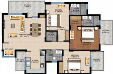 1690 sqft, 3 bhk Apartment in Sushma Crescent Dhakoli, Zirakpur at Rs. 56.0000 Lacs