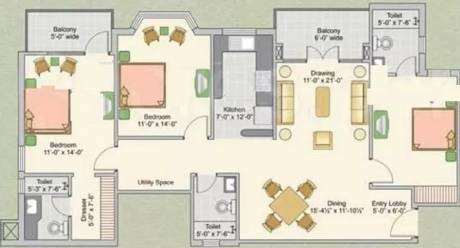 1560 sqft, 3 bhk Apartment in Ashiana Upvan Ahinsa Khand 2, Ghaziabad at Rs. 90.0000 Lacs