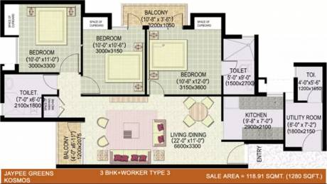 1280 sqft, 3 bhk Apartment in Jaypee Kosmos Sector 134, Noida at Rs. 48.5100 Lacs