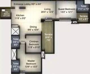 1830 sqft, 3 bhk Apartment in Kumar Peninsula Pashan, Pune at Rs. 33000