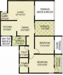 1085 sqft, 2 bhk Apartment in Mont Vert Belrose Pashan, Pune at Rs. 95.0000 Lacs