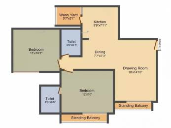 1076 sqft, 2 bhk Apartment in Gala Marigold Bopal, Ahmedabad at Rs. 42.0000 Lacs