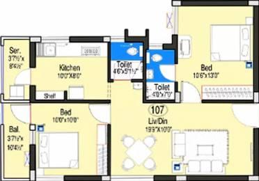 930 sqft, 2 bhk Apartment in Doshi Oriana Perungudi, Chennai at Rs. 79.5000 Lacs