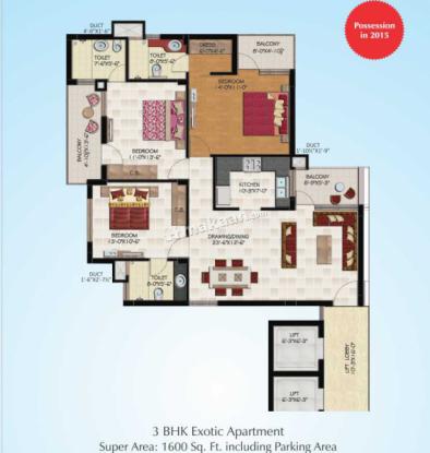 1600 sqft, 3 bhk Apartment in Shanti Hollywood Heights I Nagal, Mohali at Rs. 45.2000 Lacs