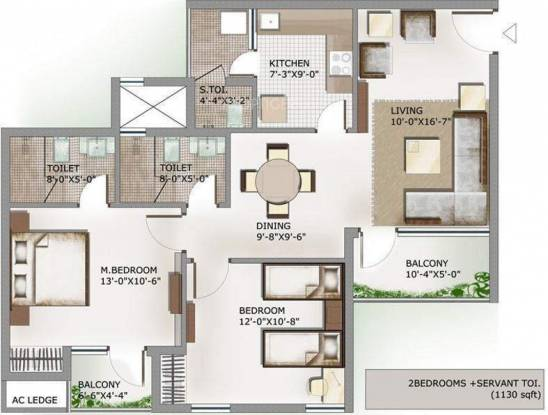 1130 sqft, 2 bhk Apartment in 3C Lotus Panache Sector 110, Noida at Rs. 51.9800 Lacs