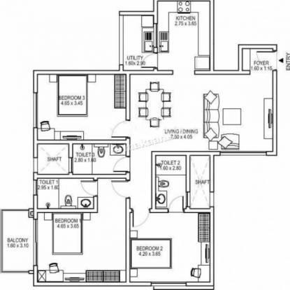 1499 sqft, 3 bhk Apartment in Builder Sobha Halcyon Gandhipuram, Bangalore at Rs. 90.0000 Lacs