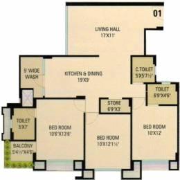 1673 sqft, 3 bhk Apartment in Sumukh Bilvam Heights Adajan, Surat at Rs. 57.4006 Lacs