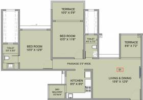 925 sq ft 2 BHK + 2T Apartment in BramhaCorp F Residences