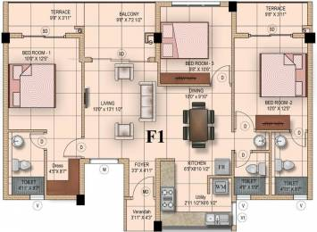 1375 sqft, 3 bhk Apartment in Mahindra Iris Court Singaperumal Koil, Chennai at Rs. 0