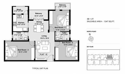 1347 sqft, 3 bhk Apartment in BBCL Ashraya Thoraipakkam OMR, Chennai at Rs. 0