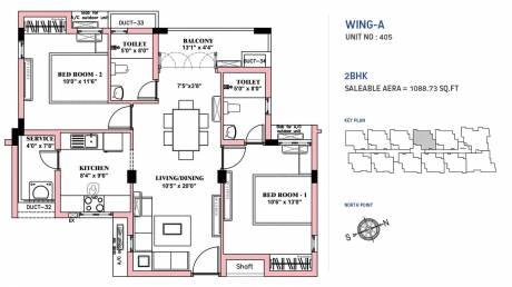1088 sqft, 2 bhk Apartment in BBCL Nakshatra Perungudi, Chennai at Rs. 0