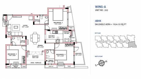 1524 sqft, 3 bhk Apartment in BBCL Nakshatra Perungudi, Chennai at Rs. 0