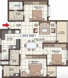 1604 sqft, 3 bhk Apartment in Prestige Kew Gardens Bellandur, Bangalore at Rs. 0