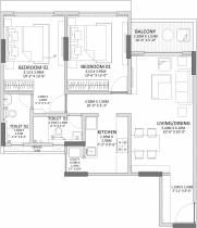 1,323 sq ft 2 BHK + 2T Apartment in Godrej Properties Prime