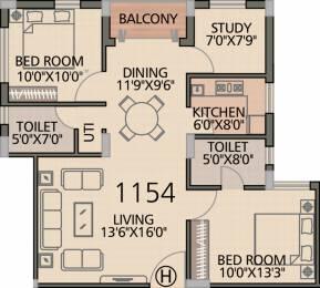 1154 sqft, 2 bhk Apartment in Diamond Navita Madhyamgram, Kolkata at Rs. 0