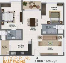 1,260 sq ft 2 BHK + 2T Apartment in Ramky Group One Galaxia