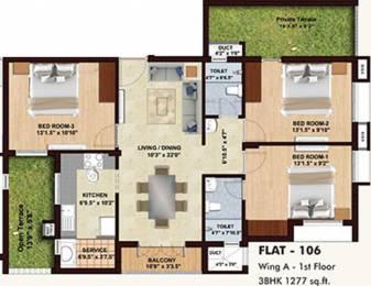 1277 sqft, 3 bhk Apartment in BBCL Midland Sholinganallur, Chennai at Rs. 0