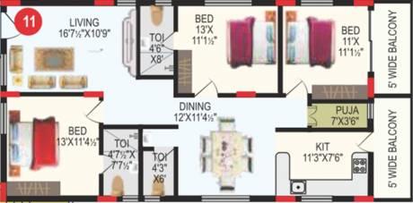 1595 sqft, 3 bhk Apartment in RV Bhaiji Panchajanya Kondapur, Hyderabad at Rs. 0