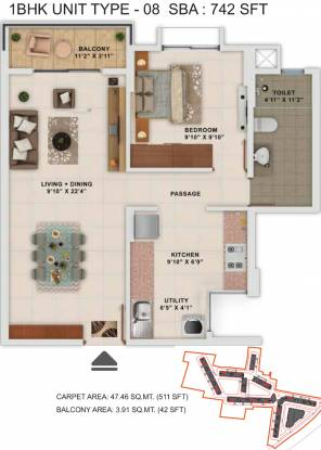 742 sqft, 1 bhk Apartment in Salarpuria Sattva Park Cubix Devanahalli, Bangalore at Rs. 0