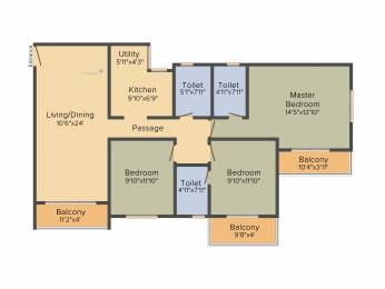 1466 sqft, 3 bhk Apartment in Salarpuria Sattva Park Cubix Devanahalli, Bangalore at Rs. 0