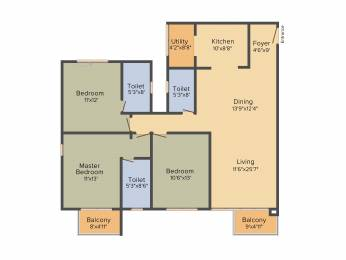1745 sqft, 3 bhk Apartment in DNR Casablanca Mahadevapura, Bangalore at Rs. 0