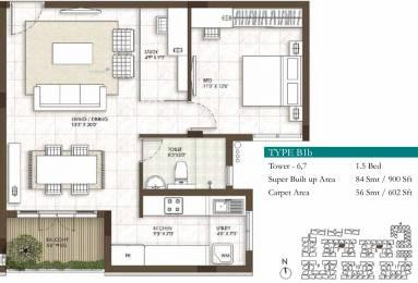 900 sqft, 1 bhk Apartment in Prestige Courtyards Sholinganallur, Chennai at Rs. 0