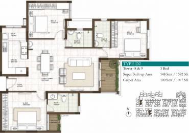 1592 sqft, 3 bhk Apartment in Prestige Courtyards Sholinganallur, Chennai at Rs. 0