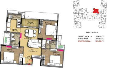 1223 sqft, 3 bhk Apartment in Radiance Icon Koyambedu, Chennai at Rs. 0