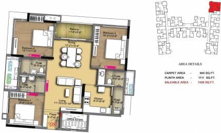 1426 sqft, 3 bhk Apartment in Radiance Icon Koyambedu, Chennai at Rs. 0