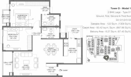 1309 sqft, 2 bhk Apartment in Godrej Life Plus Kanakapura Road Beyond Nice Ring Road, Bangalore at Rs. 0