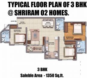 1350.02 sqft, 3 bhk Apartment in Shriram O2 Homes Budigere Cross, Bangalore at Rs. 0