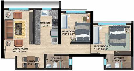568.98 sqft, 2 bhk Apartment in Sethia Imperial Avenue Malad East, Mumbai at Rs. 0