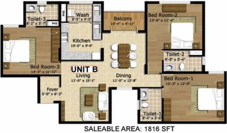 1816 sqft, 3 bhk Apartment in BBCL Vajra Mogappair, Chennai at Rs. 0