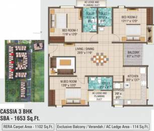 1653 sqft, 3 bhk Apartment in Alliance Galleria Residences Pallavaram, Chennai at Rs. 0