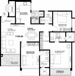 1565 sqft, 3 bhk Apartment in Duville Riverdale Residences I Kharadi, Pune at Rs. 0