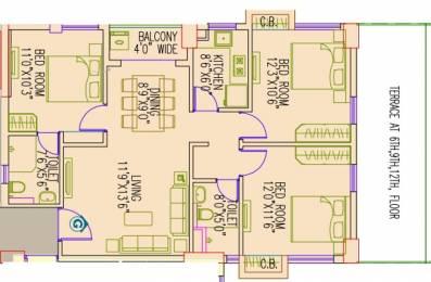 1342 sqft, 3 bhk Apartment in Primarc Aangan Dum Dum, Kolkata at Rs. 0