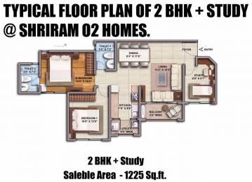 1225.02 sqft, 2 bhk Apartment in Shriram O2 Homes Budigere Cross, Bangalore at Rs. 0