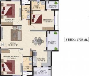 1705 sqft, 3 bhk Apartment in Mahindra Ashvita Kukatpally, Hyderabad at Rs. 0