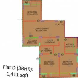 1411 sqft, 3 bhk Apartment in Shrachi Greenwood Nest New Town, Kolkata at Rs. 0