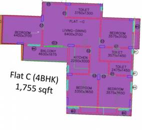 1755 sqft, 4 bhk Apartment in Shrachi Greenwood Nest New Town, Kolkata at Rs. 0
