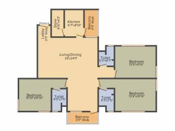 1635 sqft, 3 bhk Apartment in Shrachi Greenwood Nest New Town, Kolkata at Rs. 0