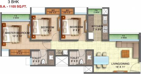 1105 sqft, 3 bhk Apartment in Runwal My City Dombivali, Mumbai at Rs. 0