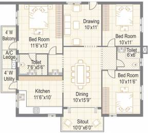 1435 sqft, 3 bhk Apartment in Vertex Panache Kokapet, Hyderabad at Rs. 0
